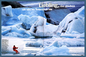 picture of a magazine spread featuring Gary skiing